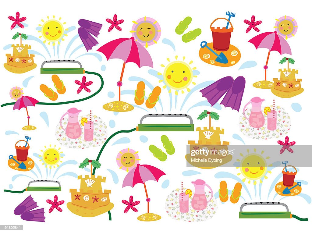 A pattern of suns, lemonade, sandcastles and sprinklers in the summer : Stock Illustration