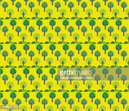 Pattern of trees on a yellow background : Stock Illustration