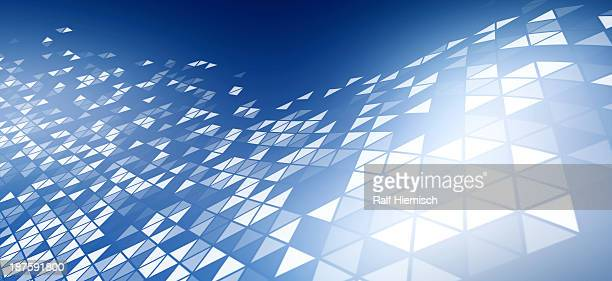 A pattern of triangles on a blue background