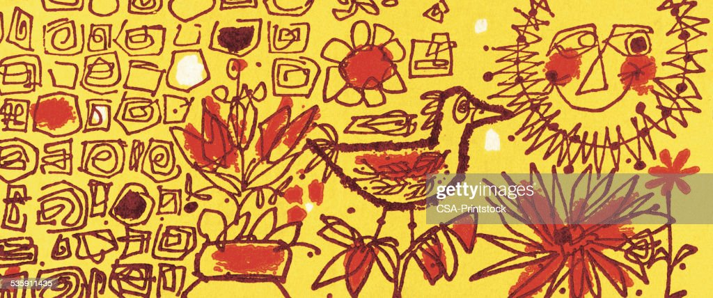 Pattern with Bird and Sun : Stock Illustration