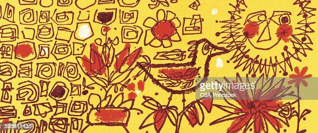 Pattern with Bird and Sun : Stock Illustration
