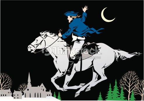 paul revere riding his horse warning the colonists vector art