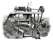 19th century illustration of a peat-compressing machinery. Patented in the late 19th century, and introduced by Messrs. Clayton, Son and Howlett of the Atlas Works, London. Published in 'The Practical