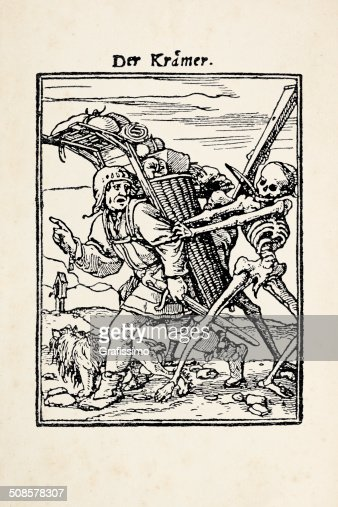 Peddler with skeleton from dance of death after Holbein : Stock Illustration