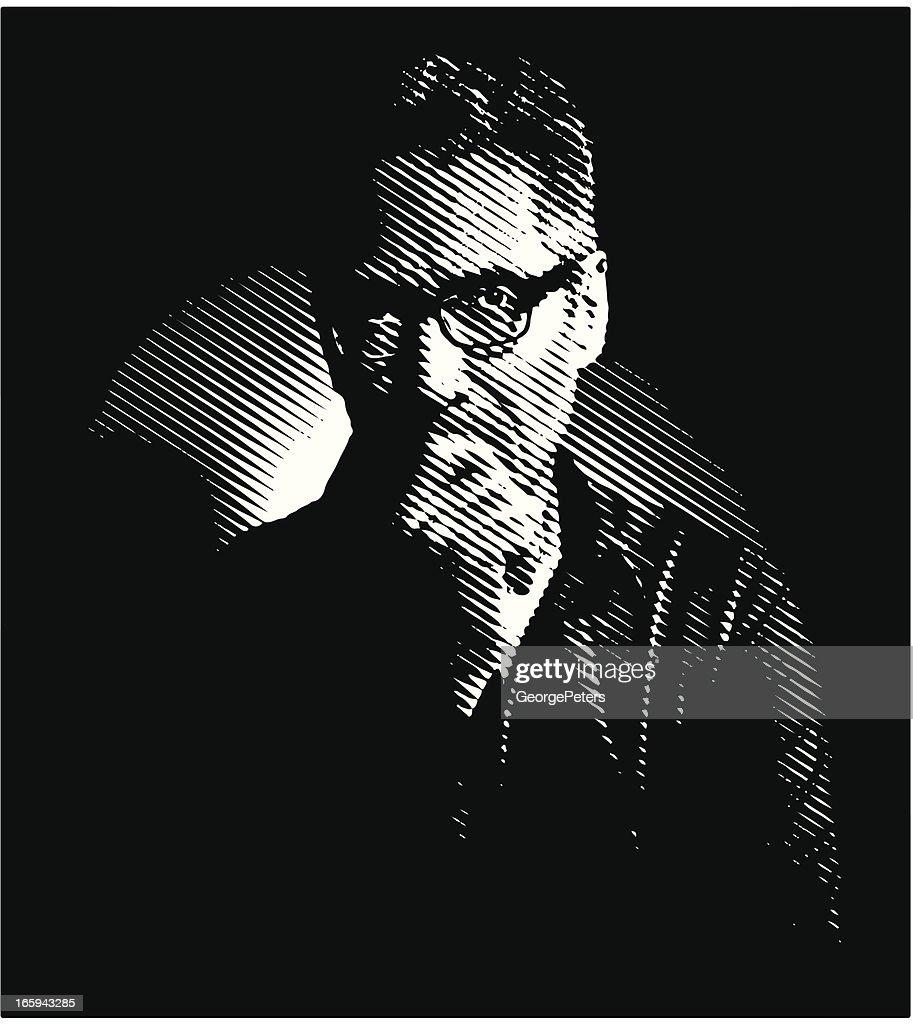 Pensive Man Film Noir Style Vector Art | Getty Images