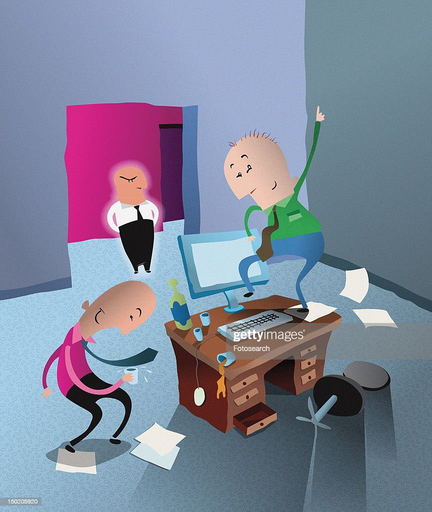 People dancing in the office while angry boss looks on : Stock Illustration