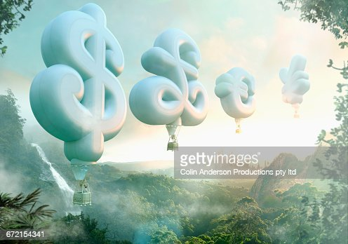 People floating in currency symbol hot air balloons