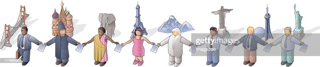 people holding hands around the world : Vector Art