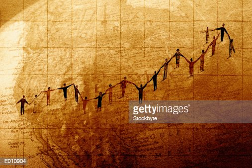 People holding hands stretching across a globe : Stock Illustration