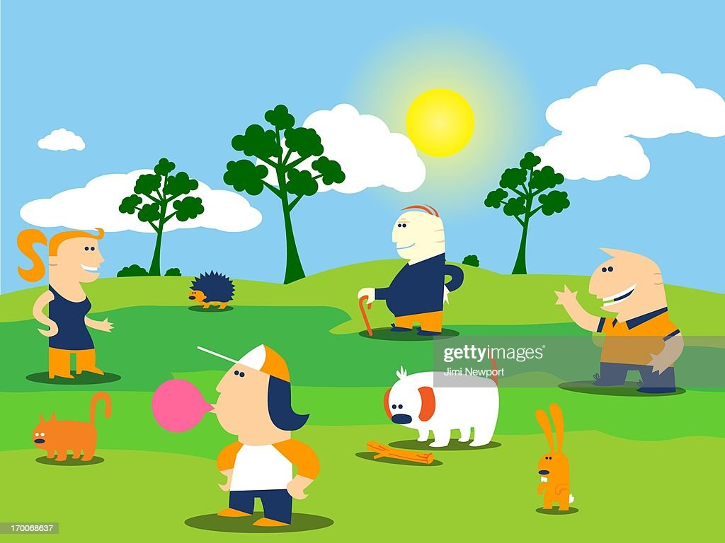 People in a park surrounded by animals : Stock Illustration