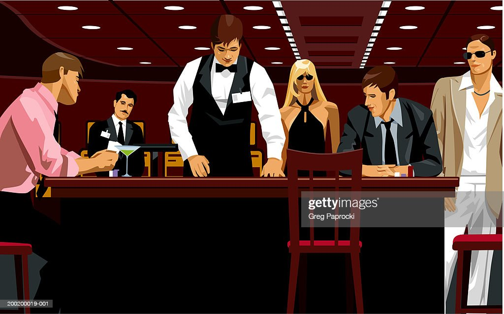 People in casino watching card dealer at gaming table : Stock Illustration