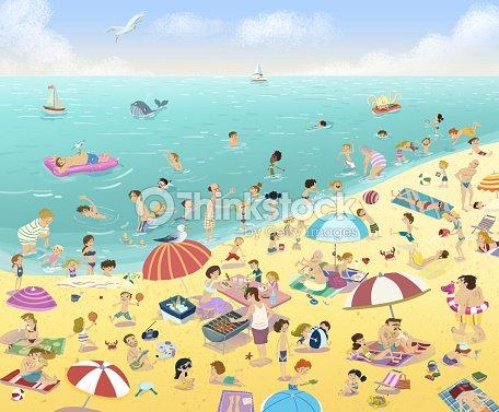 People On The Beach In Summer Stock Illustration