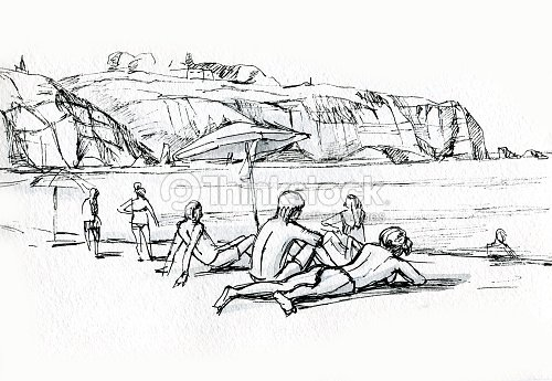 People On The Beach Sketch Stock Illustration