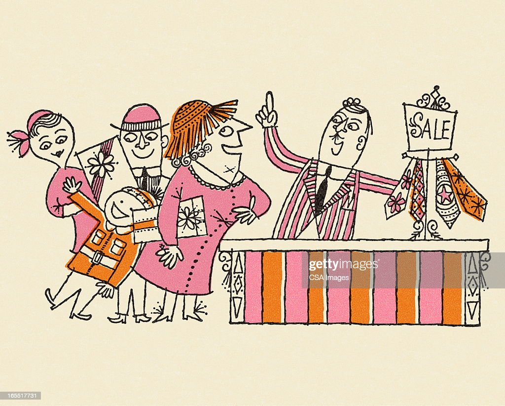 People Shopping in a Store : Stock Illustration