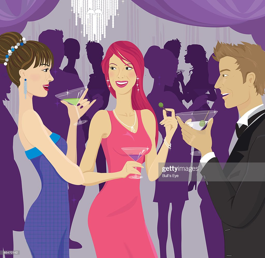 People socializing at a cocktail party : Stock Illustration