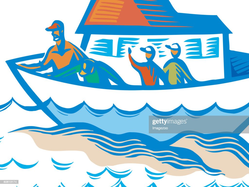 People waving goodbye from a boat : Vector Art