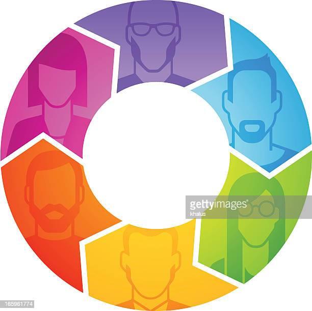 People's profile in arrows