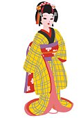 Performer in the role of a woman, front view, Japan