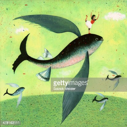 A person balancing on a fish with wings stock illustration for Wings and fish