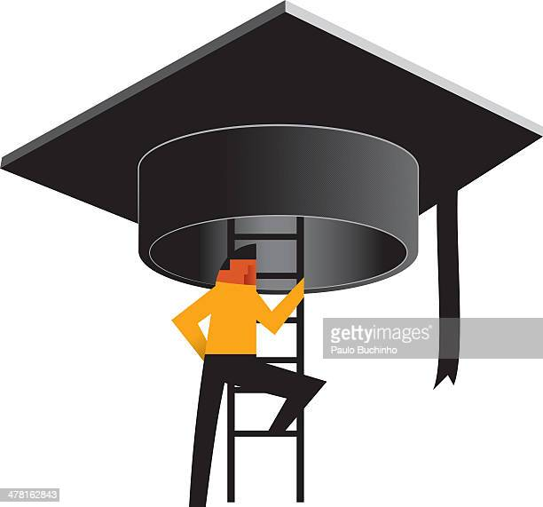 A person climbing up a ladder to a large graduation hat