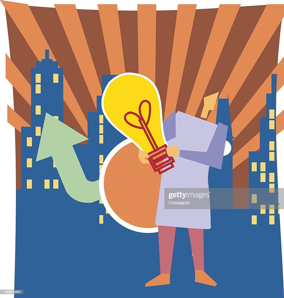 Person holding bulb : Stock Illustration