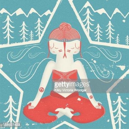 A person meditating : Stock Illustration