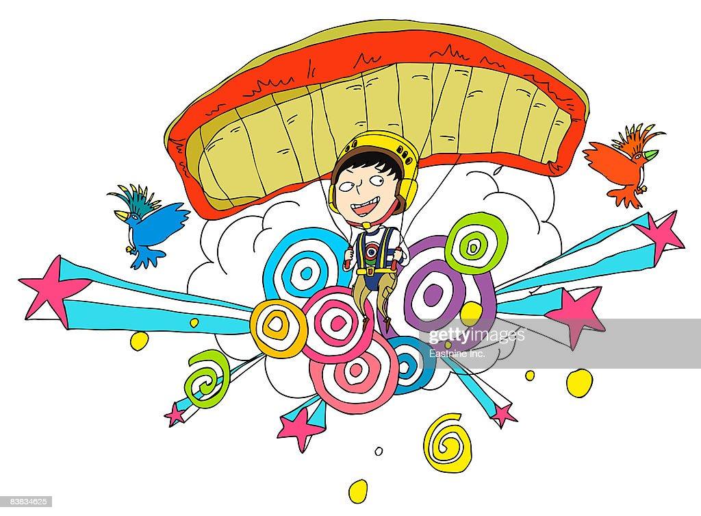 Person paragliding : Stock Illustration