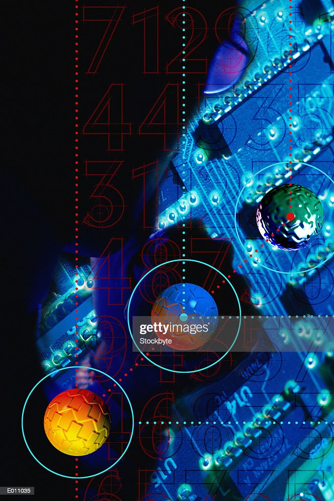 Person silhouetted behind balls and motherboard : Stock Illustration