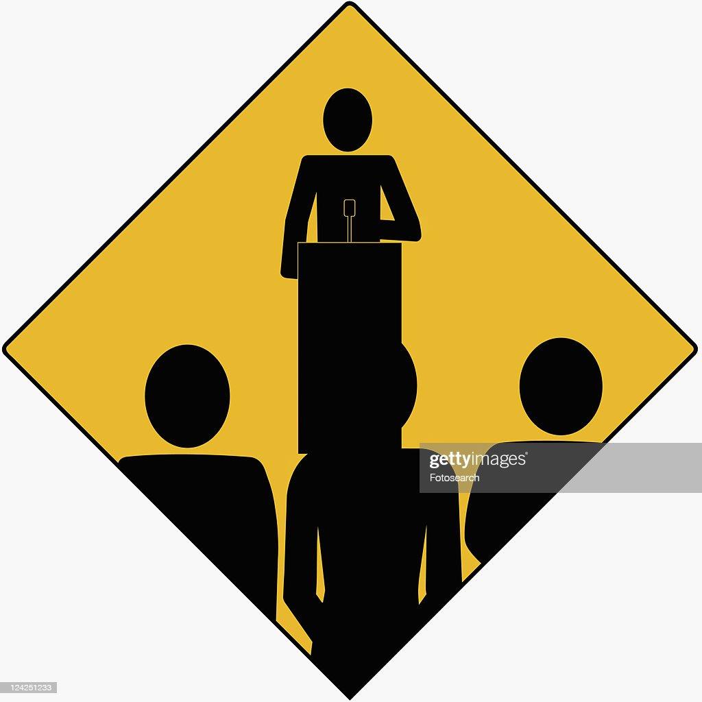 Person standing at a podium and giving a speech to three people : Stock Illustration