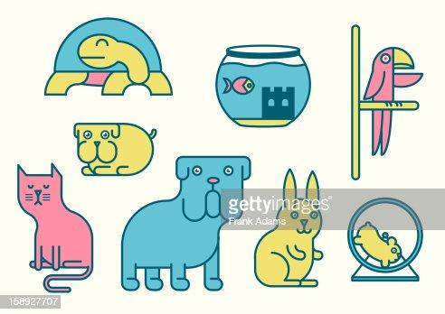 Pets against white background : Stock Illustration