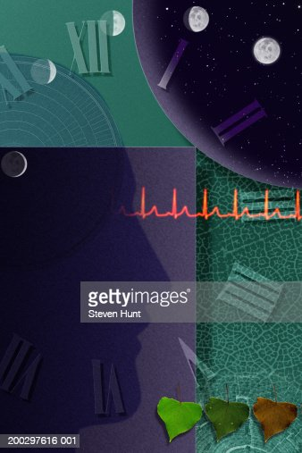 Phases of moon with roman numerals and heart beat (Digital Composite) : Stock Illustration