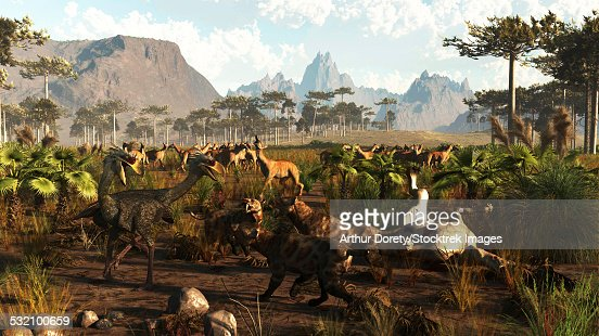 phorusrhacos smilodons and macrauchenia in ancient argentina 2 million years ago stock illustration