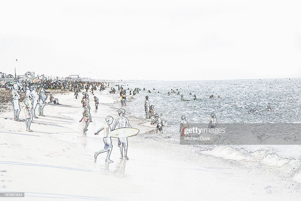 Line Art Beach : Photographic line drawing of beach stock illustration