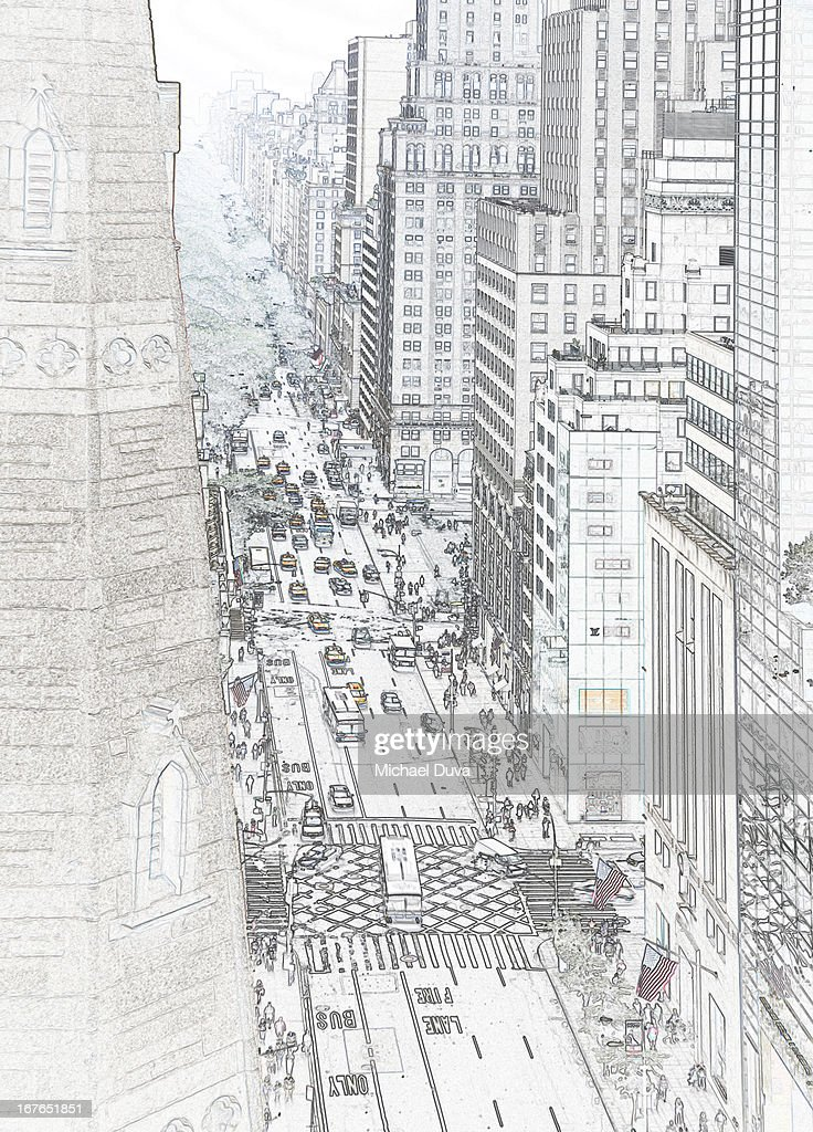 Photographic line drawing of new york architecture : Stock Illustration