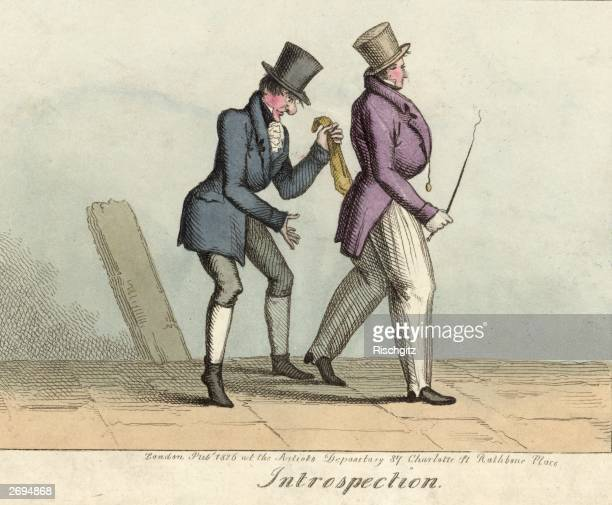 A pickpocket at work on an unsuspecting gentleman Original Publication Busby's Humorous Etchings Introspection Thomas Busby