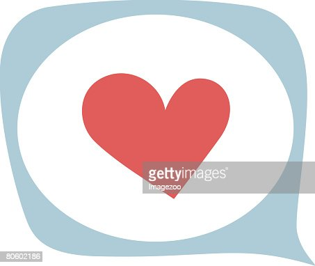 A pictorial illustration of a heart inside a speech bubble : Vector Art
