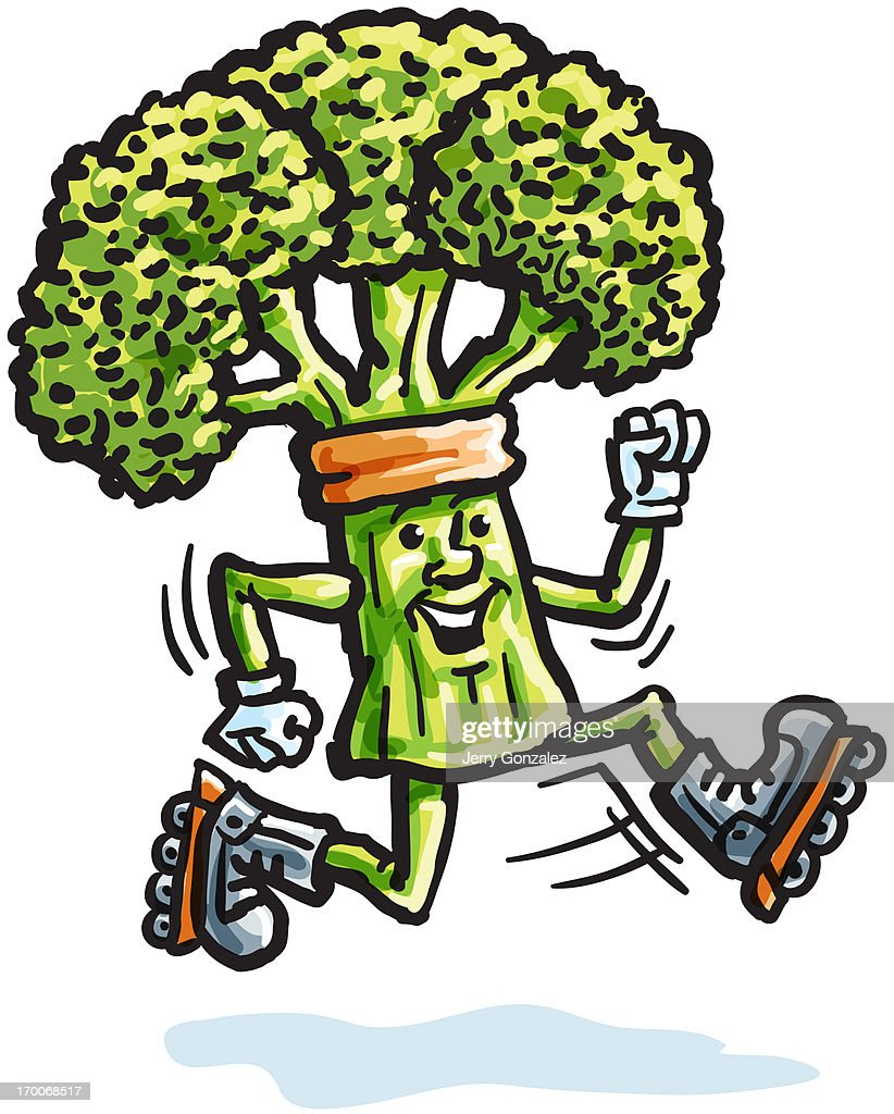A piece of broccoli roller blading : Stock Illustration