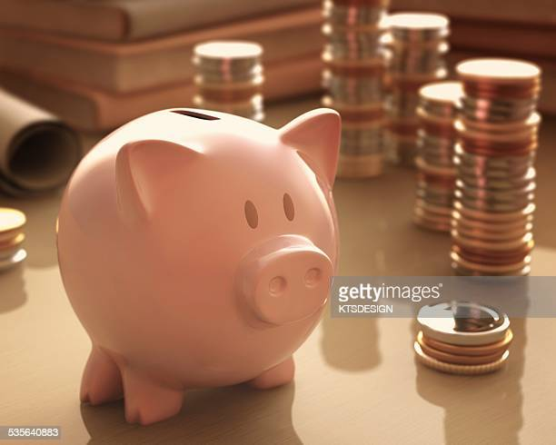 Piggy bank and coins, illustration
