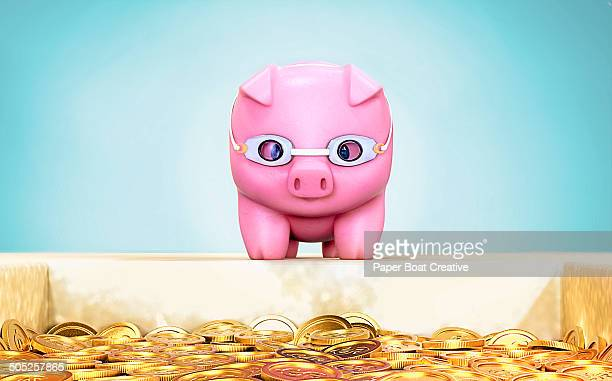 Piggy Bank ready to dive into a pool of gold coins
