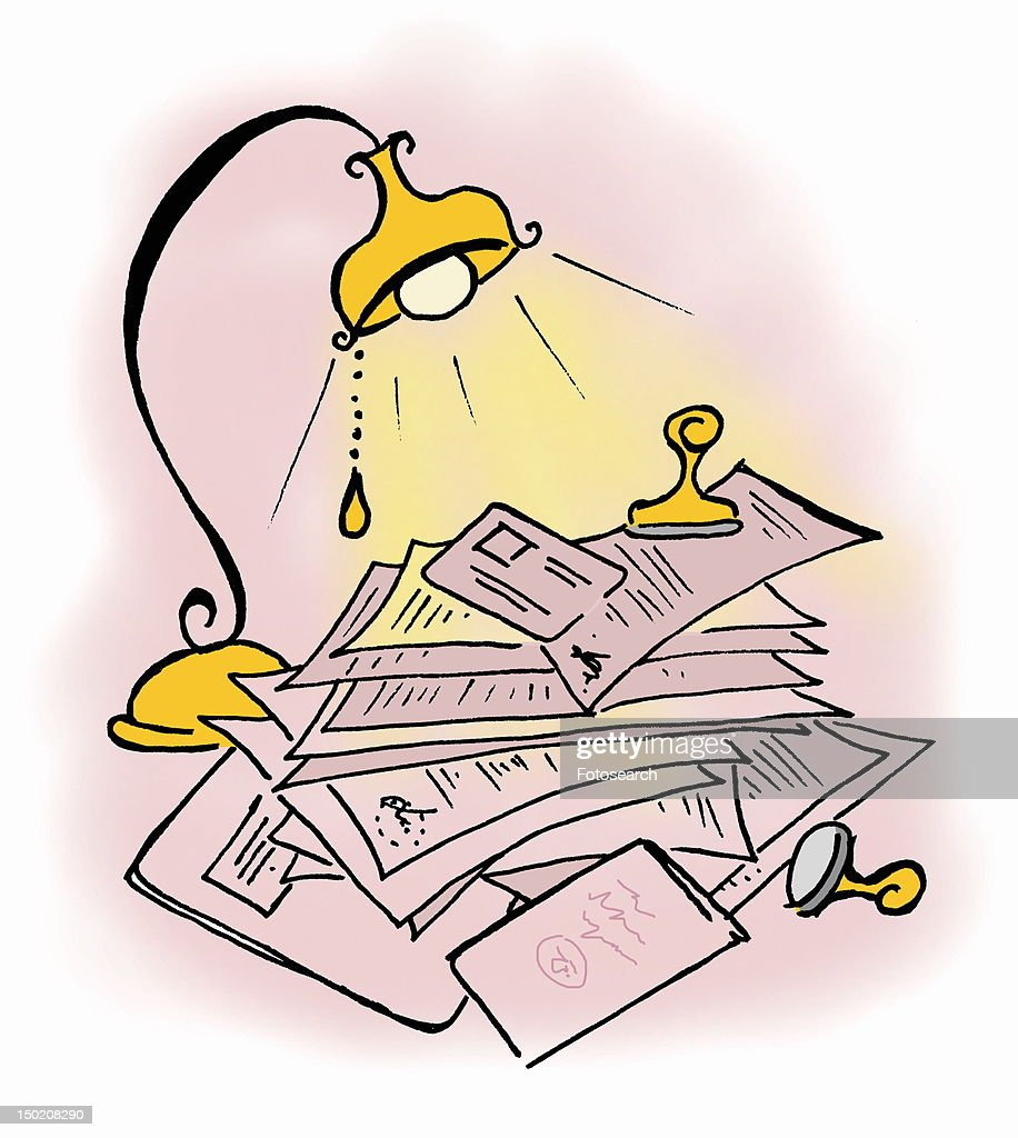Piled up mail under a light : Stock Illustration