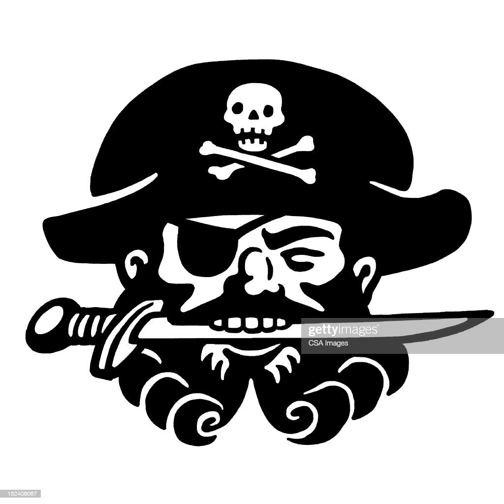 Pirate Holding Knife in Teeth : Stock Illustration