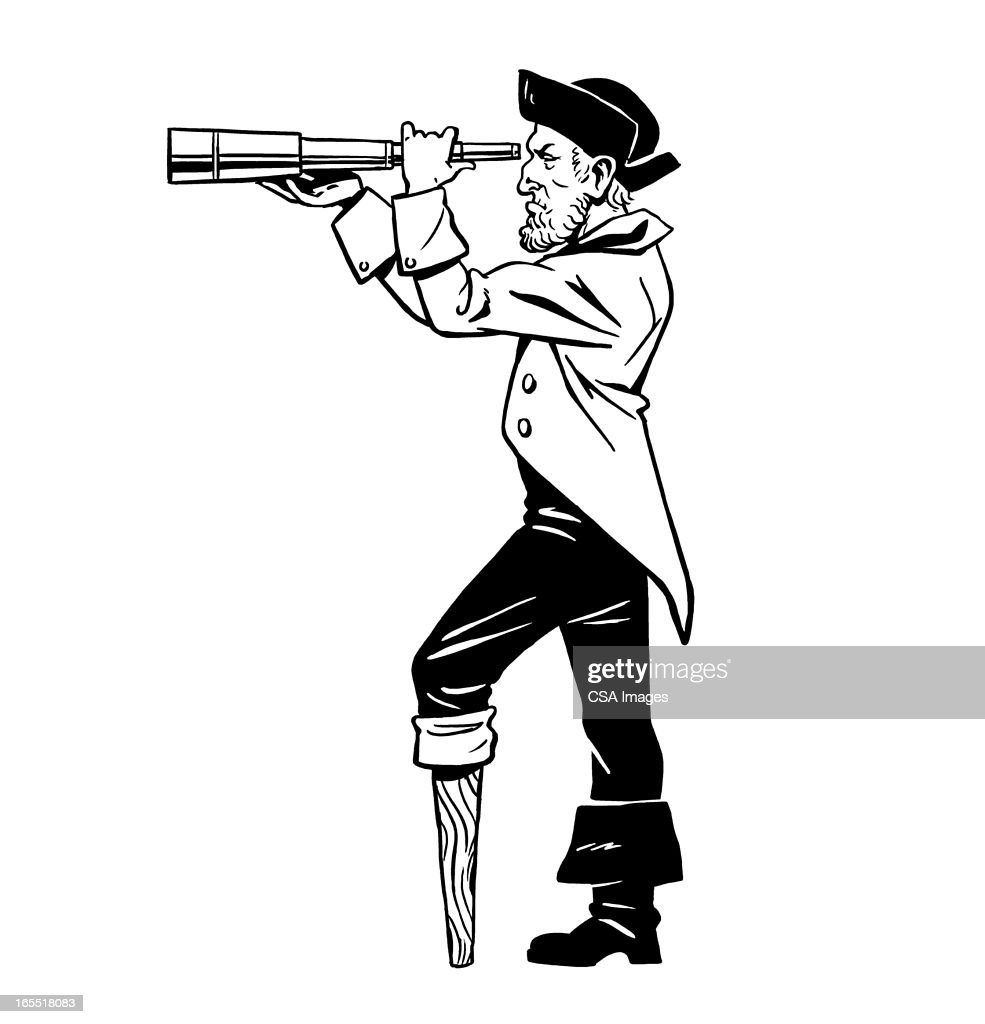 pirate looking through a telescope stock illustration