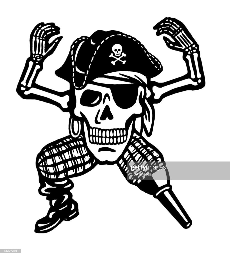 pirate skull with peg leg stock illustration getty images