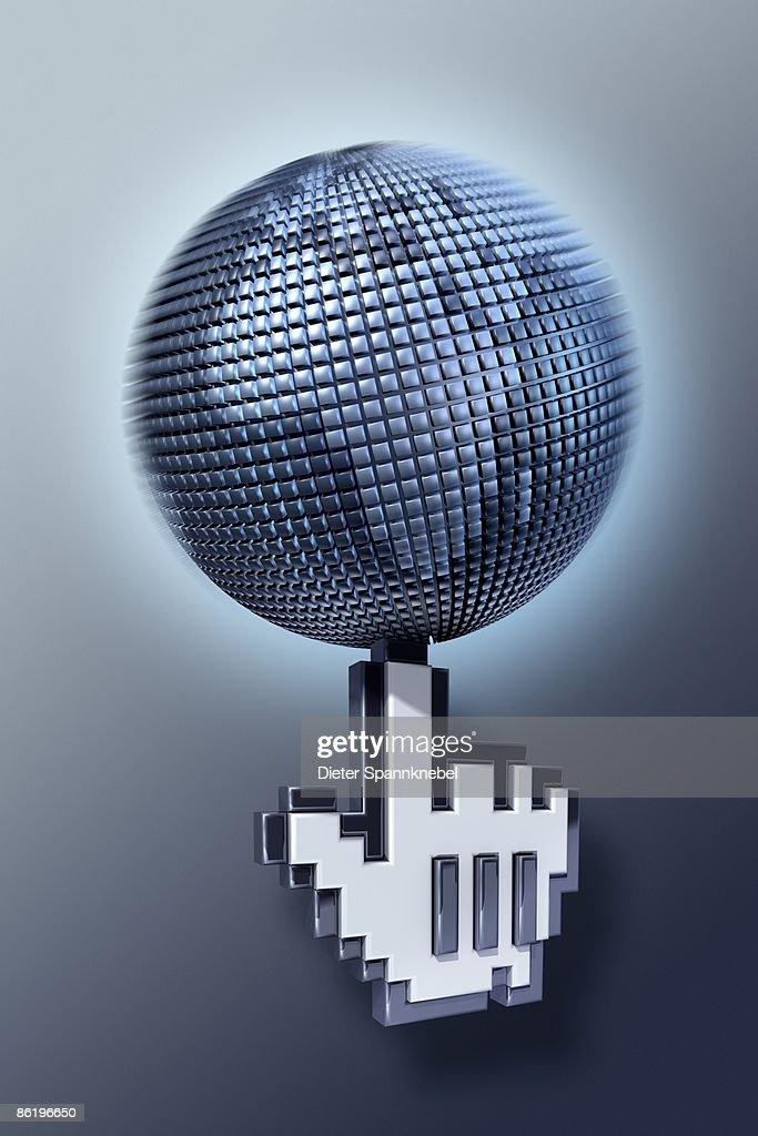 Pixel hand balances a globe of pixels : Stock Illustration
