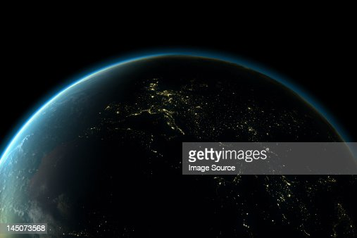 Planet earth with lights of Europe at night : Ilustração de stock