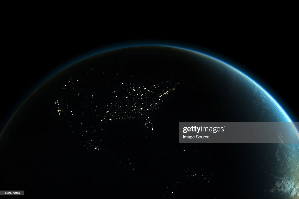 Planet earth with lights of North America at night : Stock Illustration
