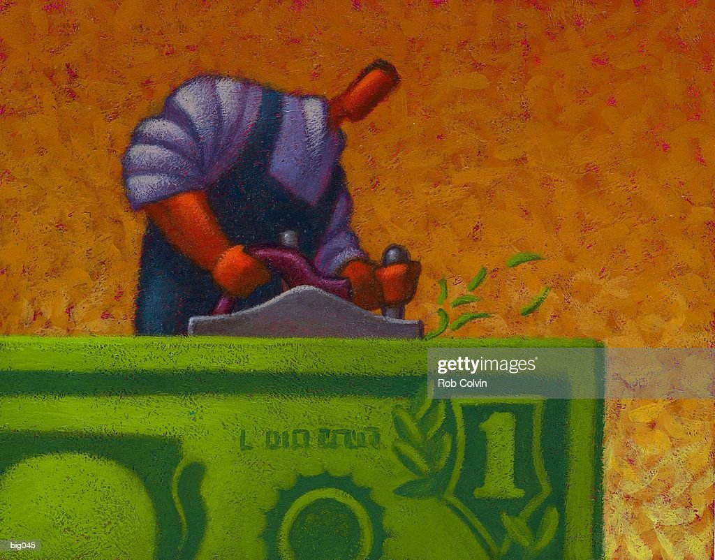 Planing the Dollar : Stock Illustration