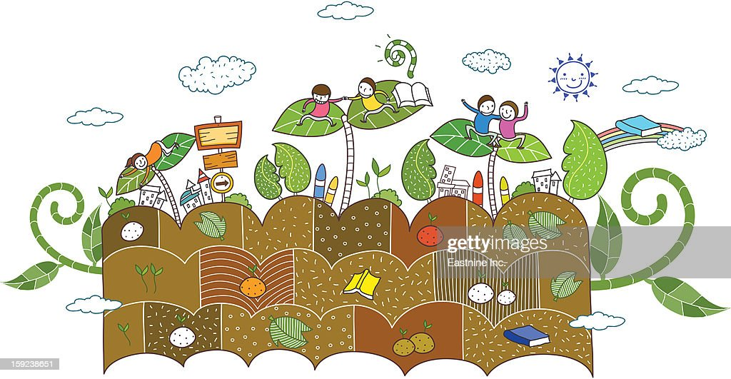 plants and children : Stock Illustration