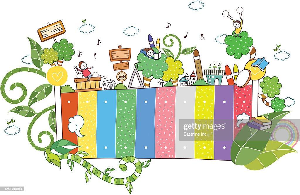 plants and children : Stock Illustration
