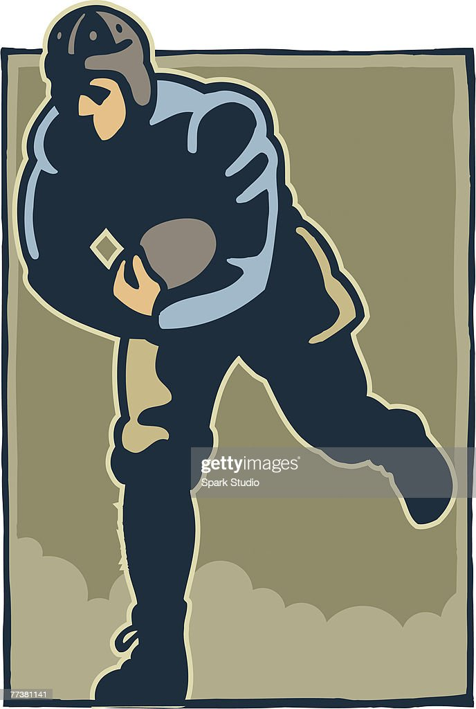 A player catching a football during a match : Stock Illustration